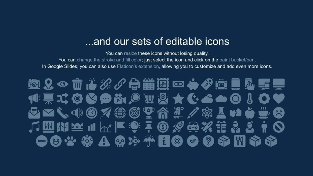 The template has a large collection of icons for different purposes.