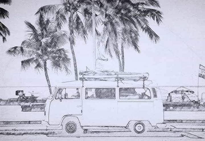 Tourist Bus Sketch Effect Photoshop.