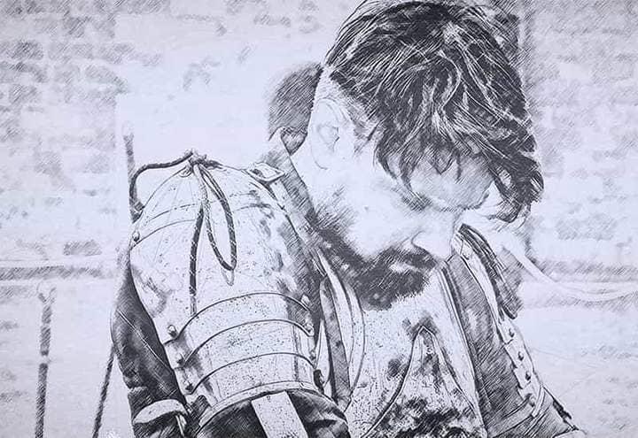 Warrior Sketch Effect Photoshop.