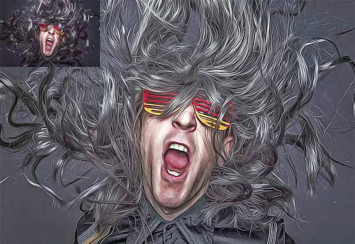 Musician with colored glasses The Oil Canvas Photoshop.
