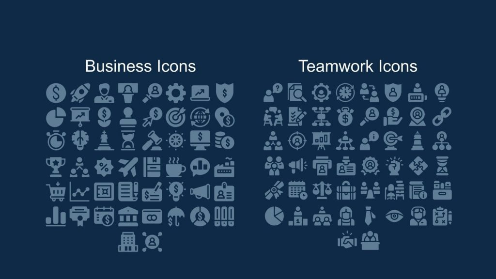 This slide shows business and team icons.