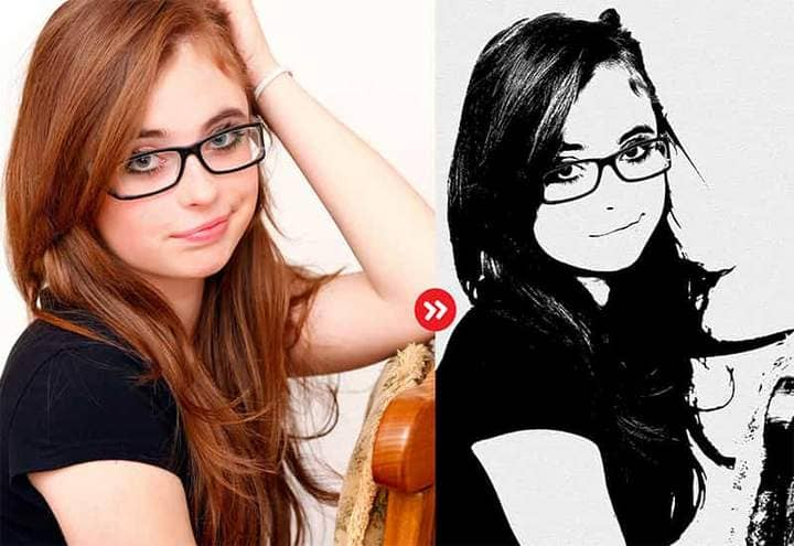Girl Sketch Effect Photoshop. Photos before and after.