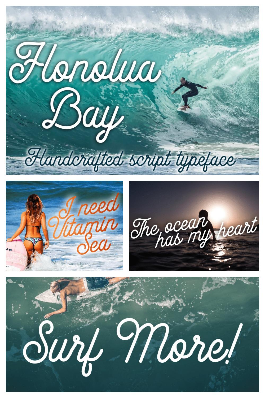Honolua Bay Font - MasterBundles - Pinterest Collage Image.