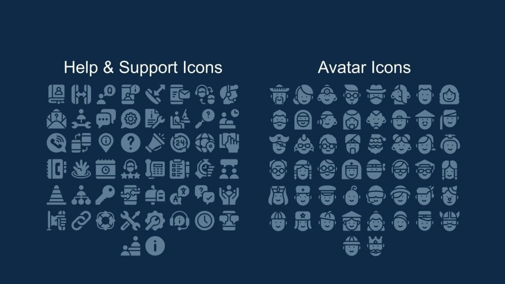 And here you will find icons for technical support and for an avatar.