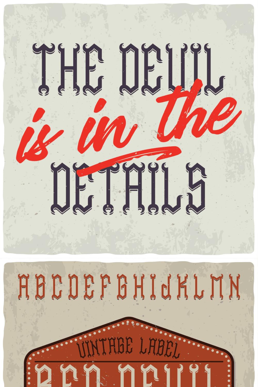 Red Devil Typeface - MasterBundles - Pinterest Collage Image.