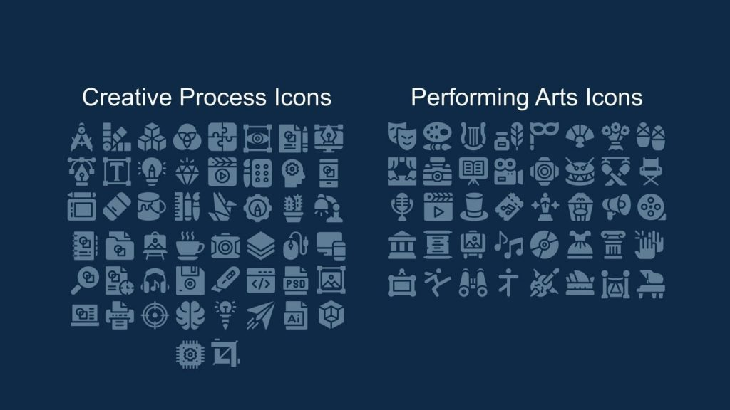 Icon sets on creation and art topics.