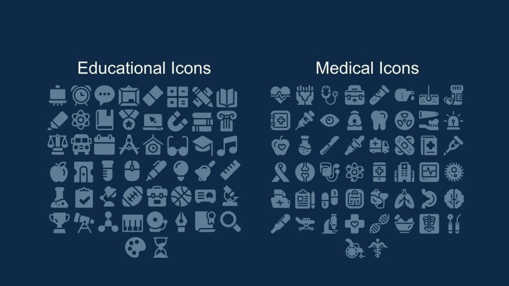 Educational and medical icons.