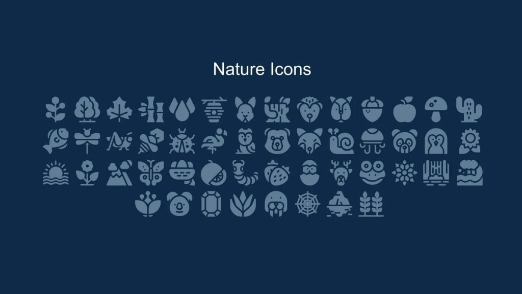 Icons in nature style with animals.