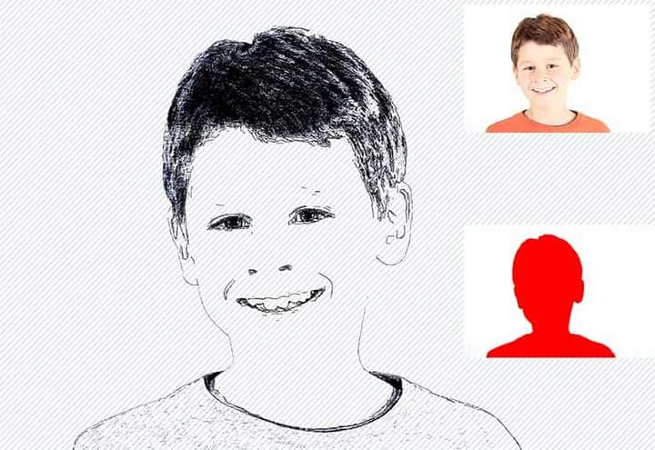 Child Sketch Effect Photoshop. Photos before and after.