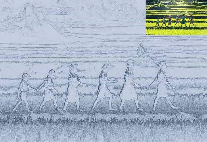Children on the Field Sketch Effect Photoshop. Photos before and after.