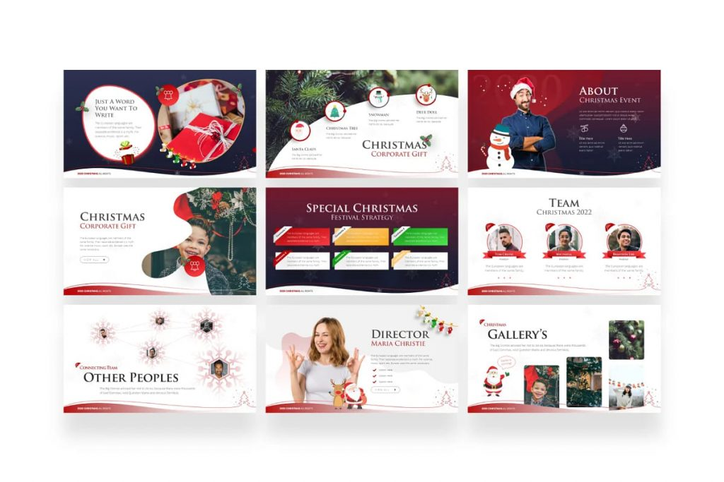 9 slides with a Christmas theme.