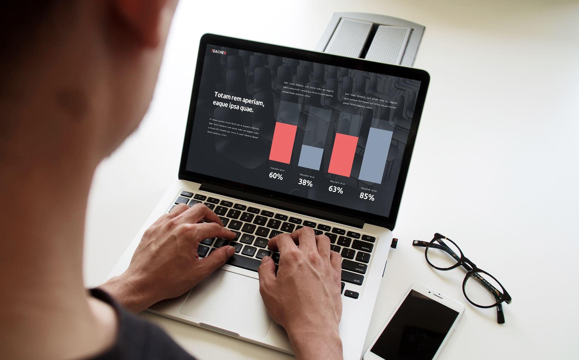 50 Slides Teacher Presentation Template by MasterBundles preview mockup image on laptop.