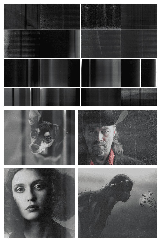 28 Bad Photocopy Effect Photoshop Overlays - MasterBundles - Pinterest Collage Image.
