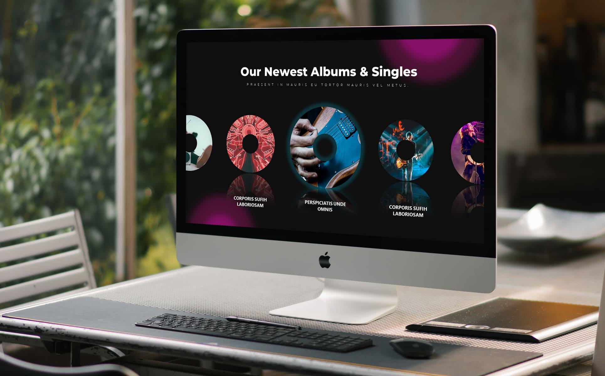 50 Slides Music Presentation Template 2021 by MasterBundles notebook preview mockup image.