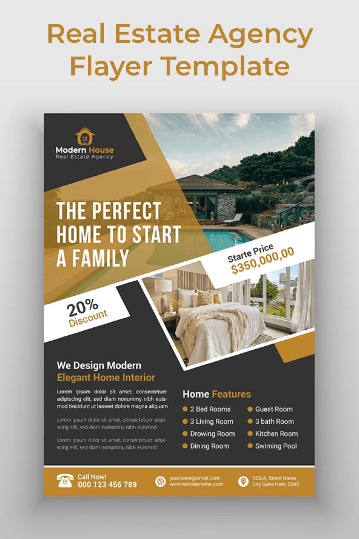 Real Estate Agency Flayer Template - MasterBundles - Pinterest Collage Image.