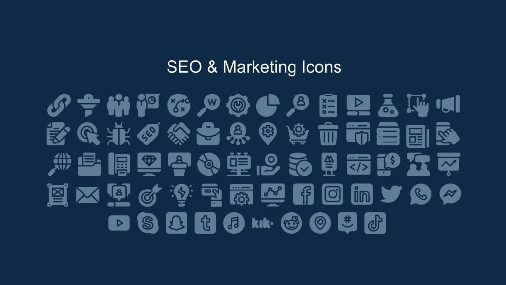 SEO and marketing icons.