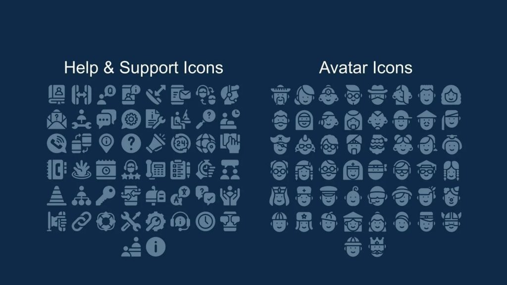 Help and support icons + avarats.