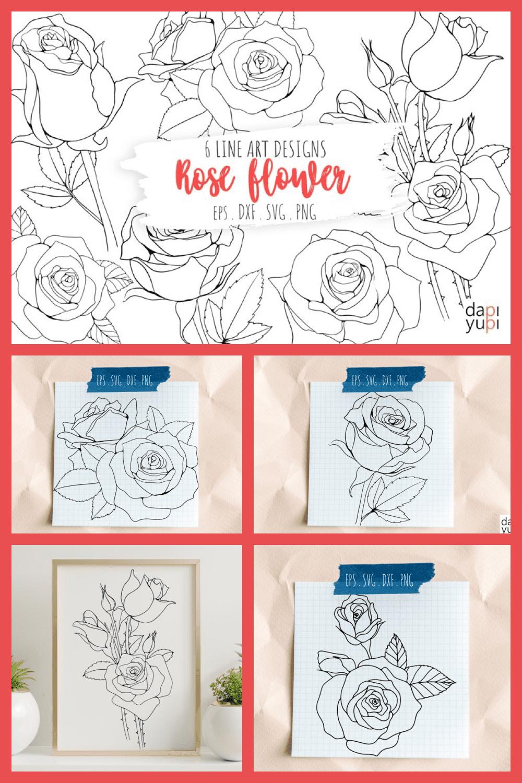 6 Rose Flower Line Art Illustrations Blooming Line Art - MasterBundles - Pinterest Collage Image.
