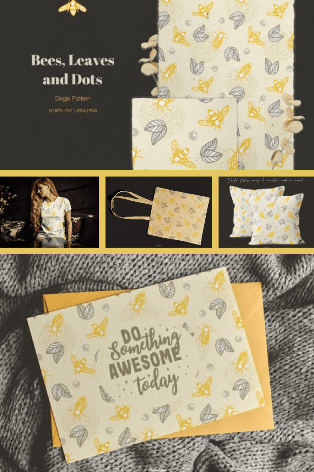Bee Pattern with Leaves and Dots Elements - MasterBundles - Pinterest Collage Image.
