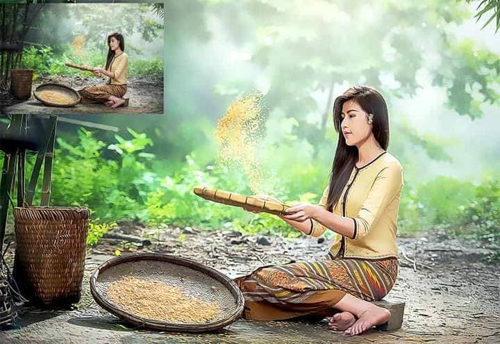 A young girl is sifting through rice in The Oil Canvas Photoshop.