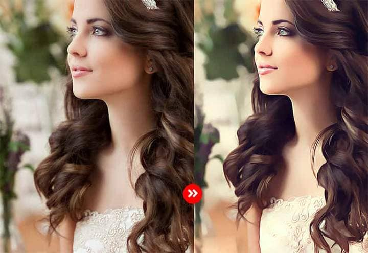 Beautiful Bride The Oil Canvas Photoshop. Photos before and after.