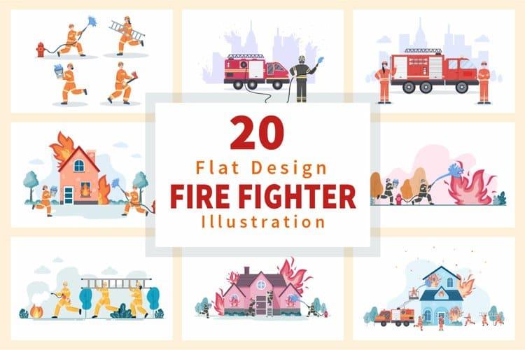 20 Flat Design Firefighters Illustration.