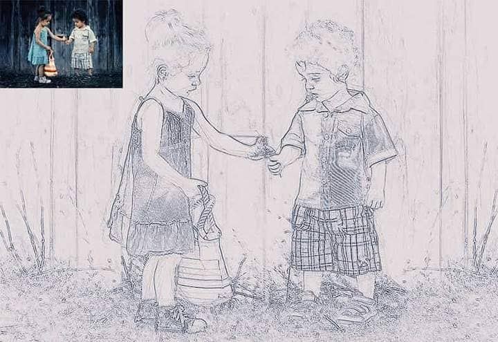 Children in the Woods Sketch Effect Photoshop. Photos before and after.
