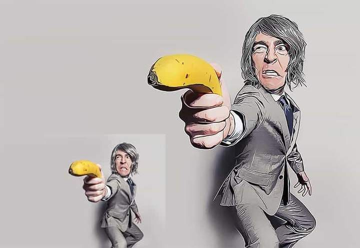Man with a banana The Oil Canvas Photoshop.