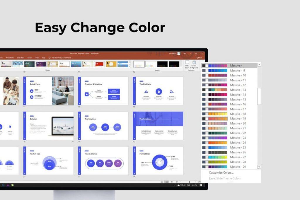 Easy Change Color Light Theme Pitch Deck & Presentation V3.0.
