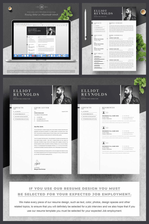 CV Resume Design - MasterBundles - Pinterest Collage Image.