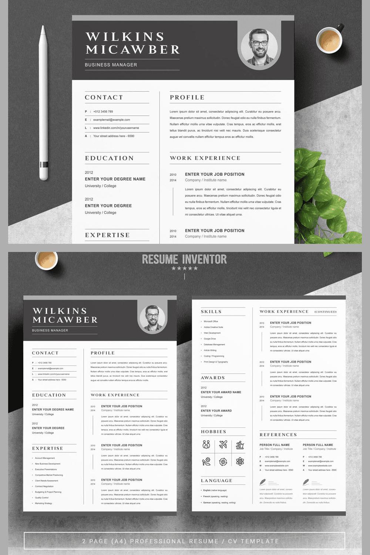 Resume Template - MasterBundles - Pinterest Collage Image.