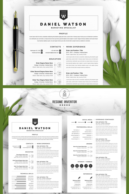 Marketing Resume - MasterBundles - Pinterest Collage Image.