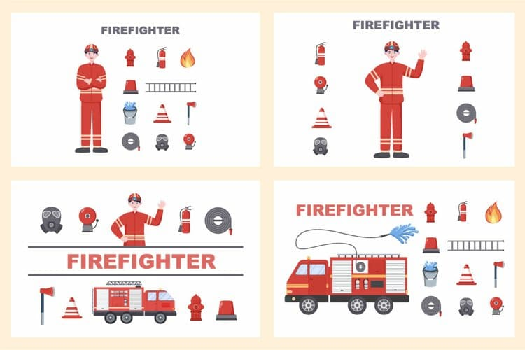 Firefighters Illustration and fire trucks.