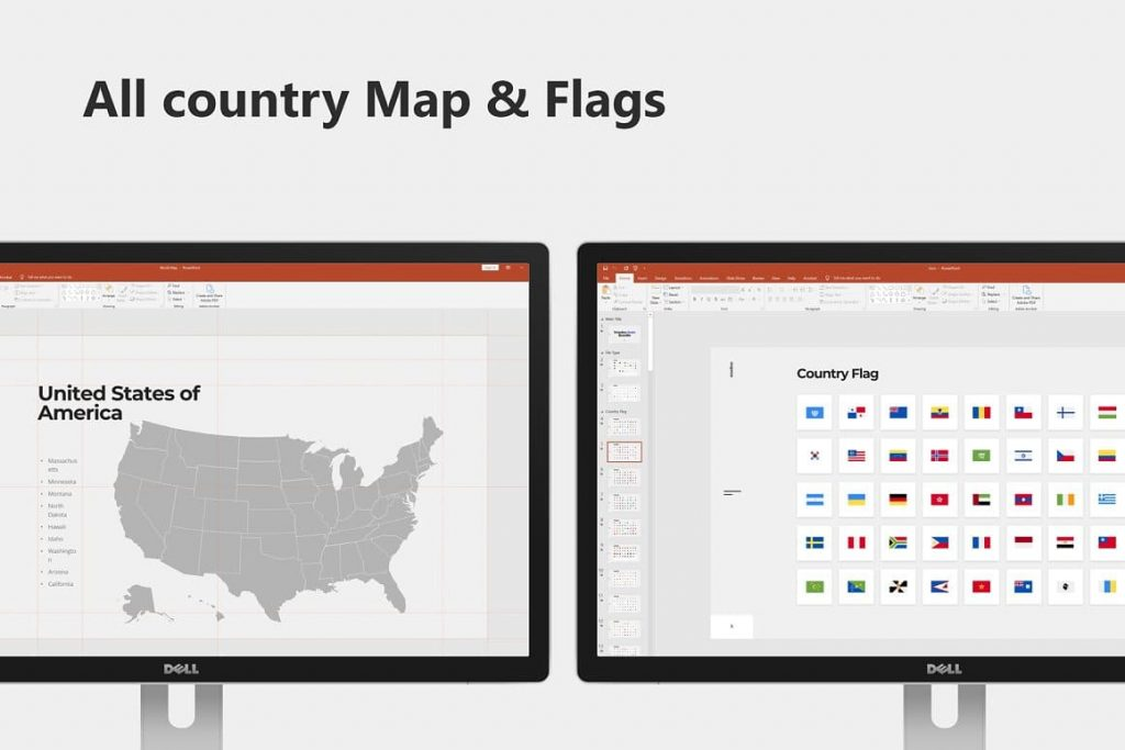 All countries on the map and flags Voodoo Presentation 4.0.
