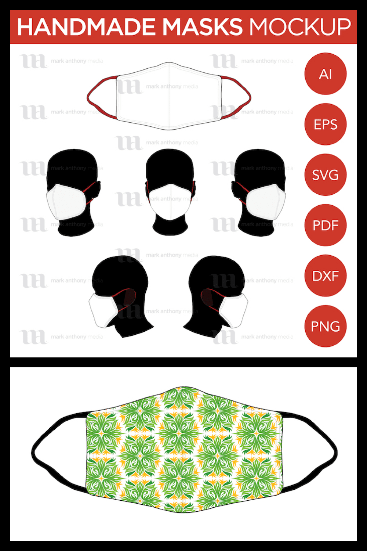 Handmade Mask - Vector Mockup Template - MasterBundles - Pinterest Collage Image.