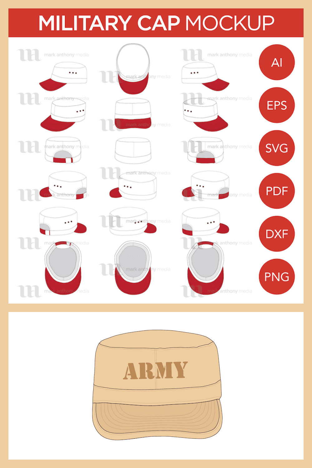 Military Army Castro Hat - Vector Template Mockup - MasterBundles - Pinterest Collage Image.