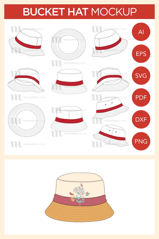Bucket Hat Vector Mockup Template - MasterBundles - Pinterest Collage Image.
