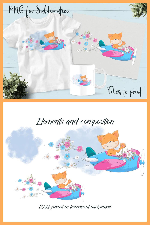 Free Cute Fox Illustration - MasterBundles - Pinterest Collage Image.