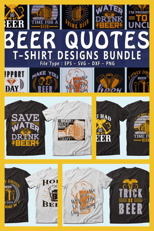 Trendy 20 Beer Quotes T-shirt Designs Bundle - MasterBundles - Pinterest Collage Image.