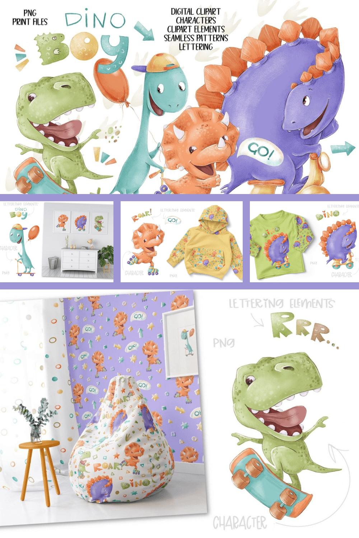 Dino Boys Clip Art Set - MasterBundles - Pinterest Collage Image.