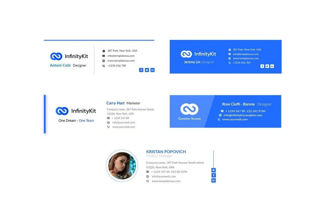Nicely layered and grouped with proper names. InfinityKit Email Signature v1.3.