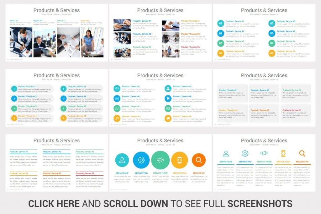 Services and Products Investors PowerPoint Pitch Decks slides.
