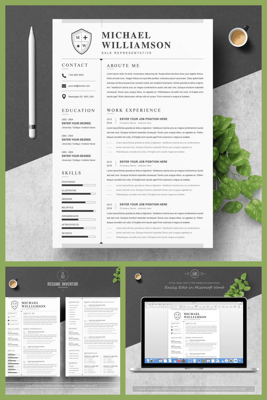 CV Design - MasterBundles - Pinterest Collage Image.