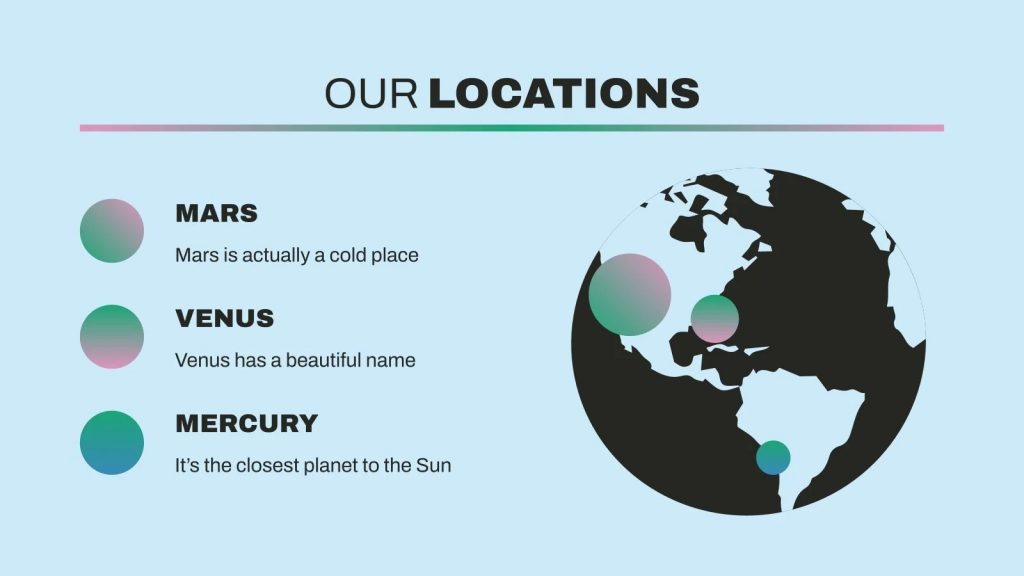 You can mark the location of your company on the globe, which is placed on a blue background.