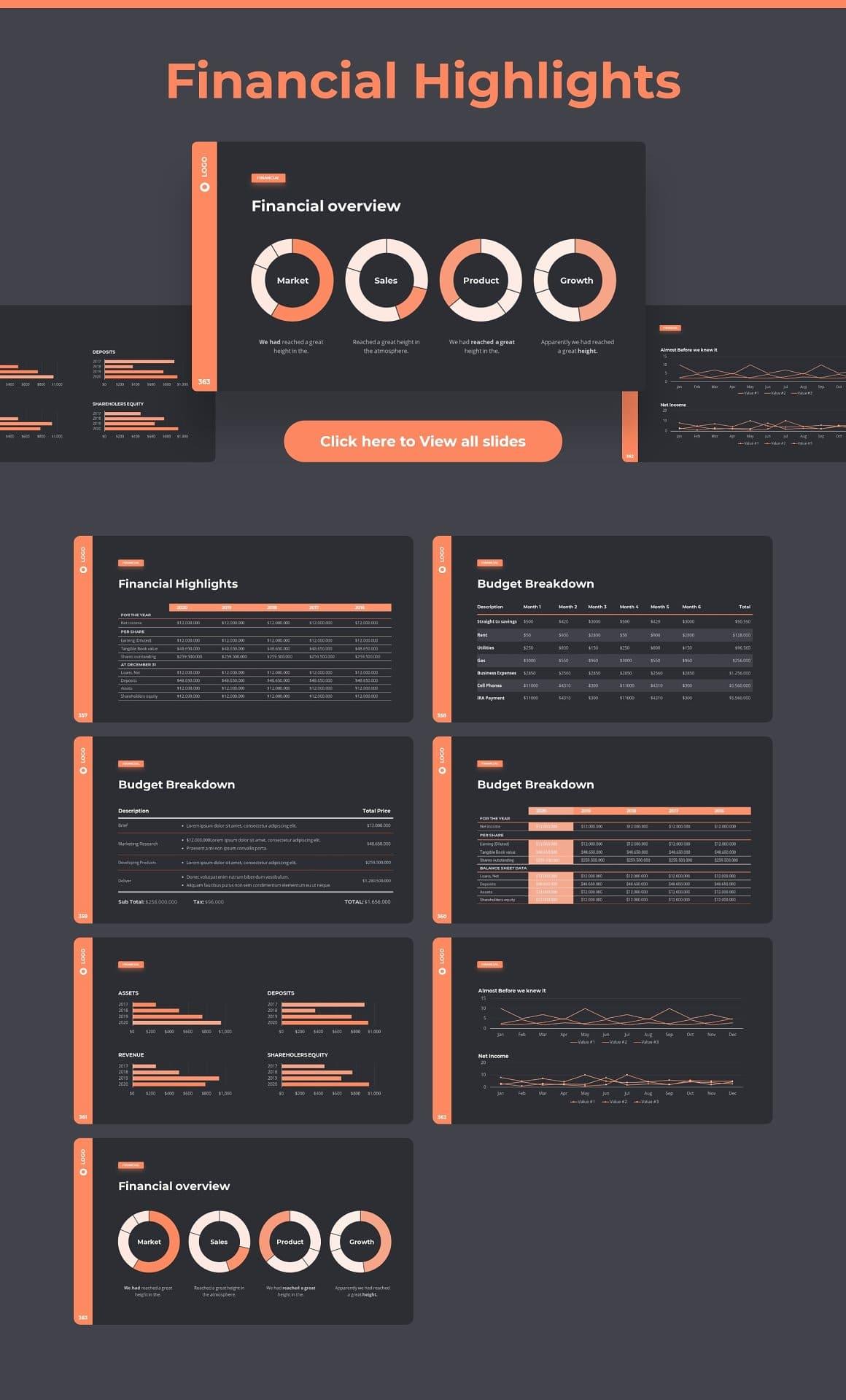 Financial highlight slides Dark theme. Pitch Deck & Presentation V3.0.