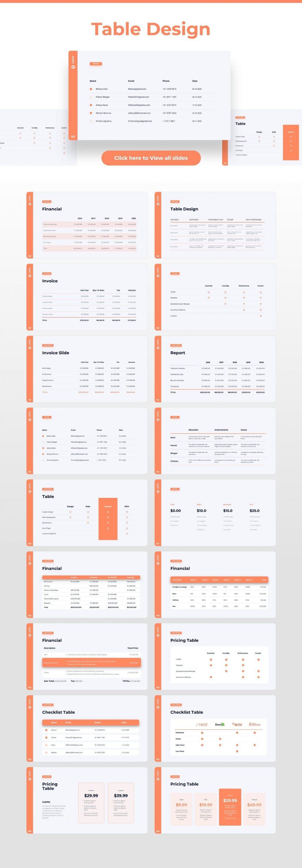 Slides table design Light Theme Pitch Deck & Presentation V3.0.