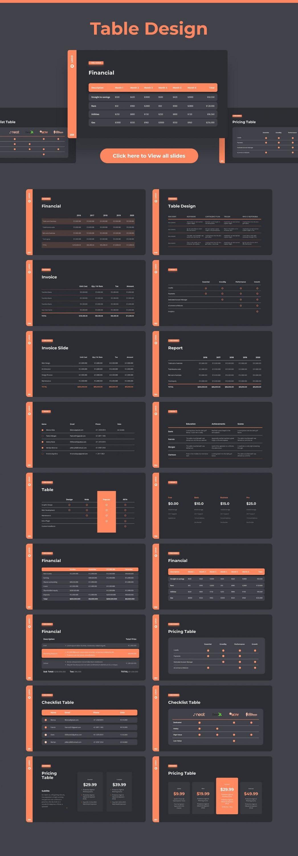 Slides table design Dark theme. Pitch Deck & Presentation V3.0.