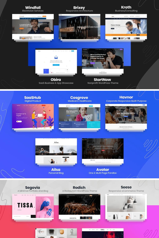 45+ Creative Premium WordPress Themes Massive Bundle - 2021 - MasterBundles - Pinterest Collage Image.