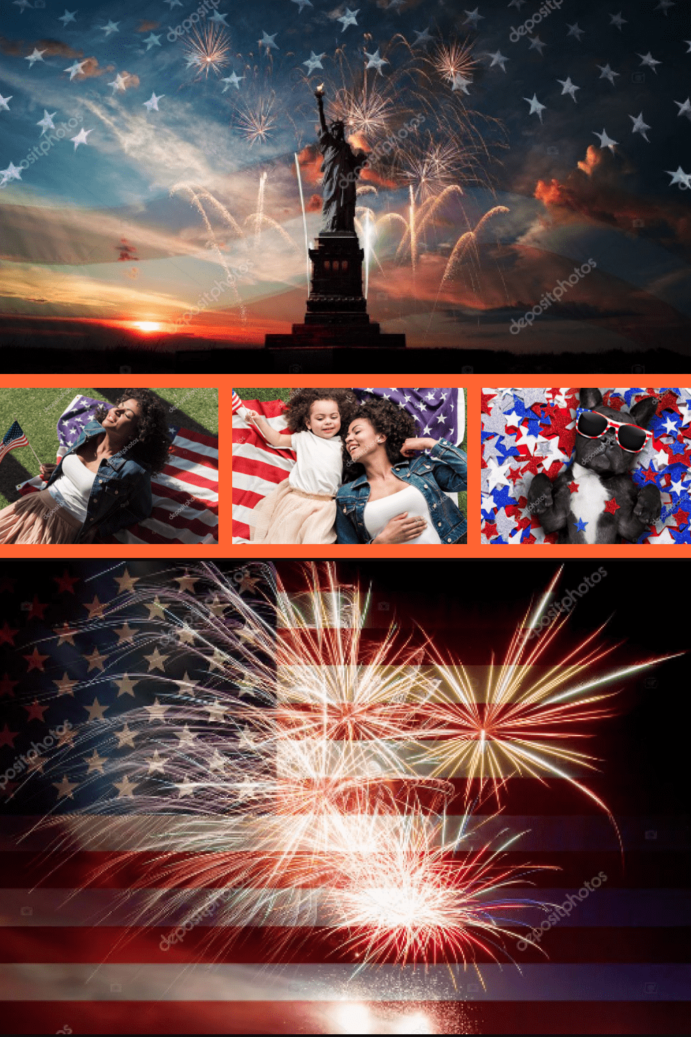 Independence Day Clipart & Photos Collection - 100 Items - MasterBundles - Pinterest Collage Image.