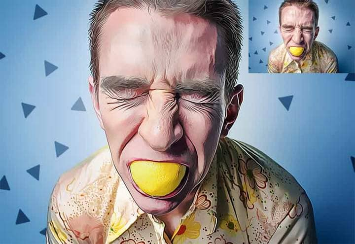 The guy is eating a lemon The Oil Canvas Photoshop.